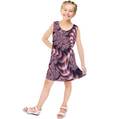 Fractal Abstract Red White Stripes Kids  Tunic Dress