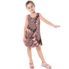 Fractal Abstract Red White Stripes Kids  Sleeveless Dress