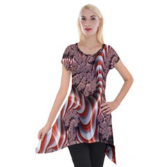 Fractal Abstract Red White Stripes Short Sleeve Side Drop Tunic