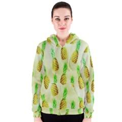 Pineapple Wallpaper Vintage Women s Zipper Hoodie