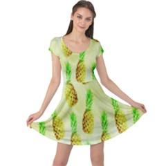 Pineapple Wallpaper Vintage Cap Sleeve Dresses