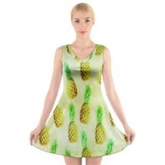 Pineapple Wallpaper Vintage V Neck Sleeveless Skater Dress