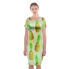 Pineapple Wallpaper Vintage Classic Short Sleeve Midi Dress