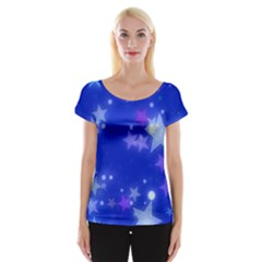 Star Bokeh Background Scrapbook Women s Cap Sleeve Top