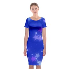 Star Bokeh Background Scrapbook Classic Short Sleeve Midi Dress