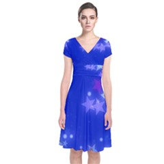 Star Bokeh Background Scrapbook Short Sleeve Front Wrap Dress