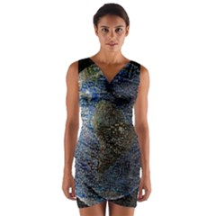 World Mosaic Wrap Front Bodycon Dress
