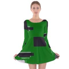 Raspberry Pi 3 Vector Long Sleeve Velvet Skater Dress