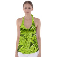 Fern Nature Green Plant Babydoll Tankini Top