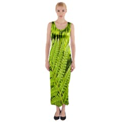 Fern Nature Green Plant Fitted Maxi Dress