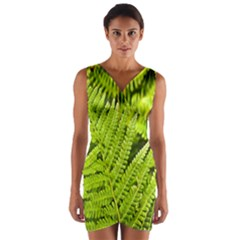Fern Nature Green Plant Wrap Front Bodycon Dress