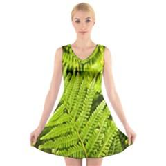 Fern Nature Green Plant V-Neck Sleeveless Skater Dress