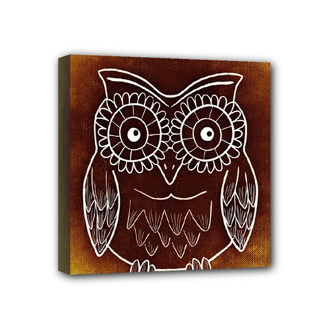 Owl Abstract Funny Pattern Mini Canvas 4  X 4