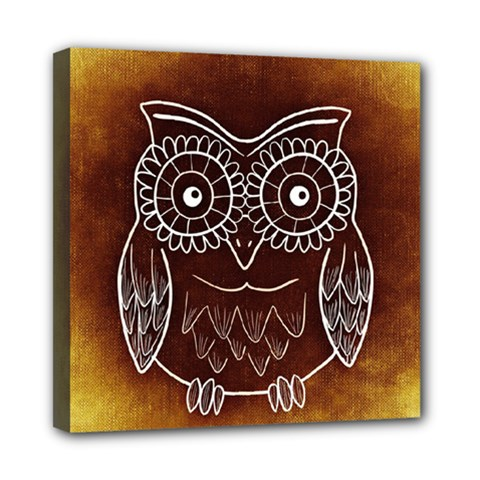 Owl Abstract Funny Pattern Mini Canvas 8  x 8