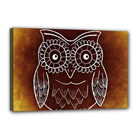Owl Abstract Funny Pattern Canvas 18  x 12