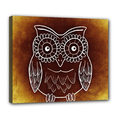 Owl Abstract Funny Pattern Deluxe Canvas 24  x 20
