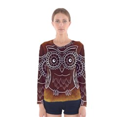 Owl Abstract Funny Pattern Women s Long Sleeve Tee