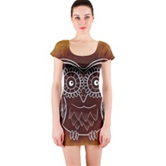 Owl Abstract Funny Pattern Short Sleeve Bodycon Dress