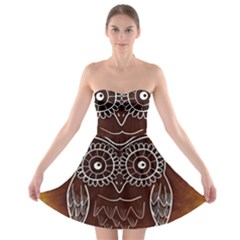 Owl Abstract Funny Pattern Strapless Bra Top Dress
