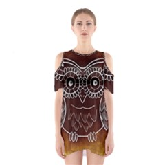 Owl Abstract Funny Pattern Shoulder Cutout One Piece