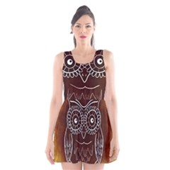 Owl Abstract Funny Pattern Scoop Neck Skater Dress