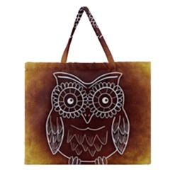 Owl Abstract Funny Pattern Zipper Large Tote Bag