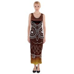 Owl Abstract Funny Pattern Fitted Maxi Dress