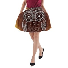 Owl Abstract Funny Pattern A-Line Pocket Skirt