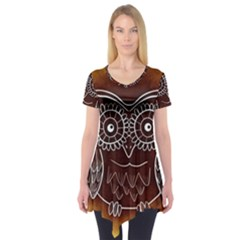 Owl Abstract Funny Pattern Short Sleeve Tunic