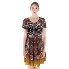 Owl Abstract Funny Pattern Short Sleeve V-neck Flare Dress