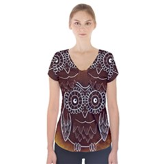 Owl Abstract Funny Pattern Short Sleeve Front Detail Top