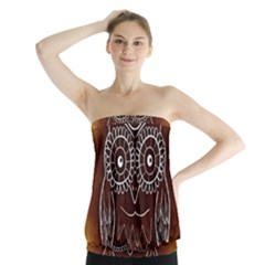 Owl Abstract Funny Pattern Strapless Top