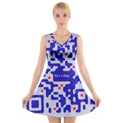 Qr Code Congratulations V Neck Sleeveless Skater Dress