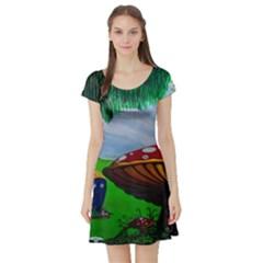Kindergarten Painting Wall Colorful Short Sleeve Skater Dress