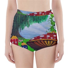 Kindergarten Painting Wall Colorful High-Waisted Bikini Bottoms