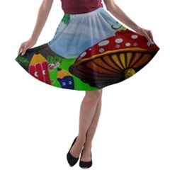 Kindergarten Painting Wall Colorful A-line Skater Skirt