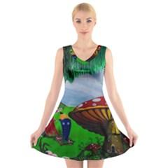 Kindergarten Painting Wall Colorful V Neck Sleeveless Skater Dress