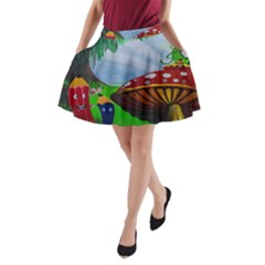 Kindergarten Painting Wall Colorful A-Line Pocket Skirt