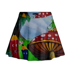Kindergarten Painting Wall Colorful Mini Flare Skirt