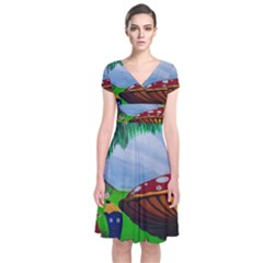 Kindergarten Painting Wall Colorful Short Sleeve Front Wrap Dress