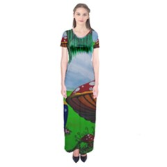 Kindergarten Painting Wall Colorful Short Sleeve Maxi Dress