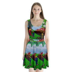 Kindergarten Painting Wall Colorful Split Back Mini Dress