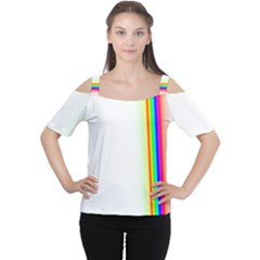 Rainbow Side Background Women s Cutout Shoulder Tee