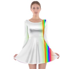 Rainbow Side Background Long Sleeve Skater Dress