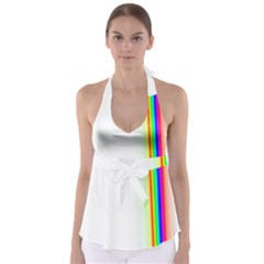 Rainbow Side Background Babydoll Tankini Top