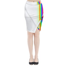 Rainbow Side Background Midi Wrap Pencil Skirt
