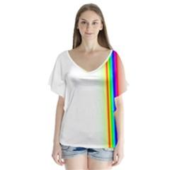 Rainbow Side Background Flutter Sleeve Top