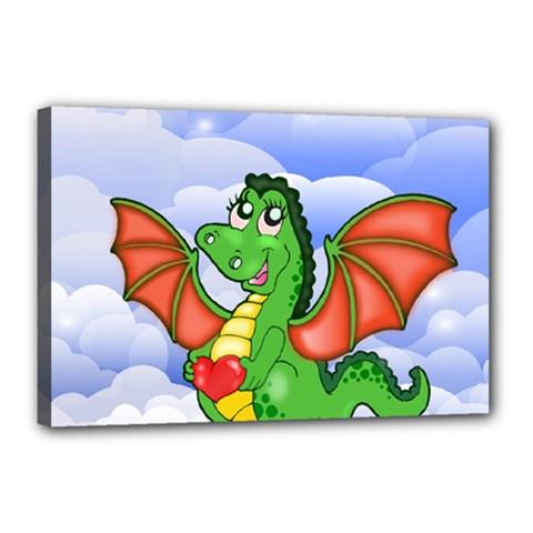 Dragon Heart Kids Love Cute Canvas 18  x 12