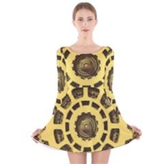 Gears Long Sleeve Velvet Skater Dress