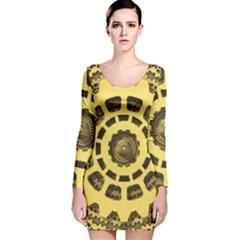 Gears Long Sleeve Velvet Bodycon Dress